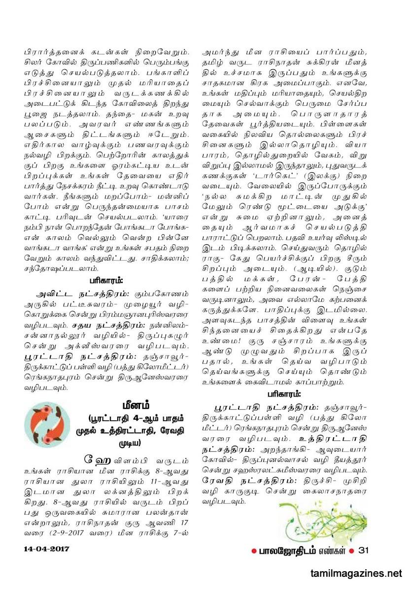 Balajothidam Hevalambi Tamil Newyear Palangal 2017-18