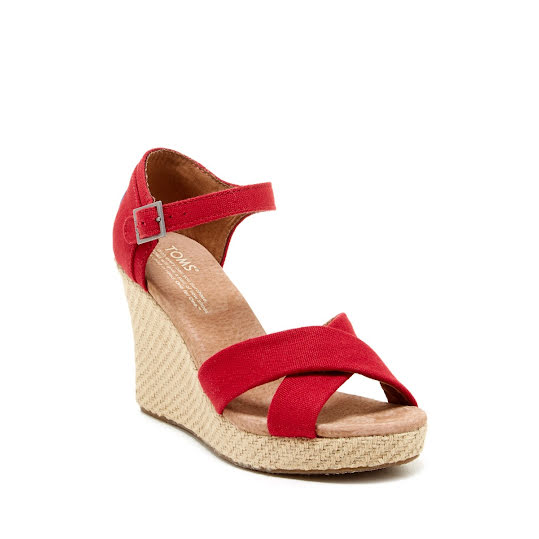 Toms Strappy Wedge Red Canvas