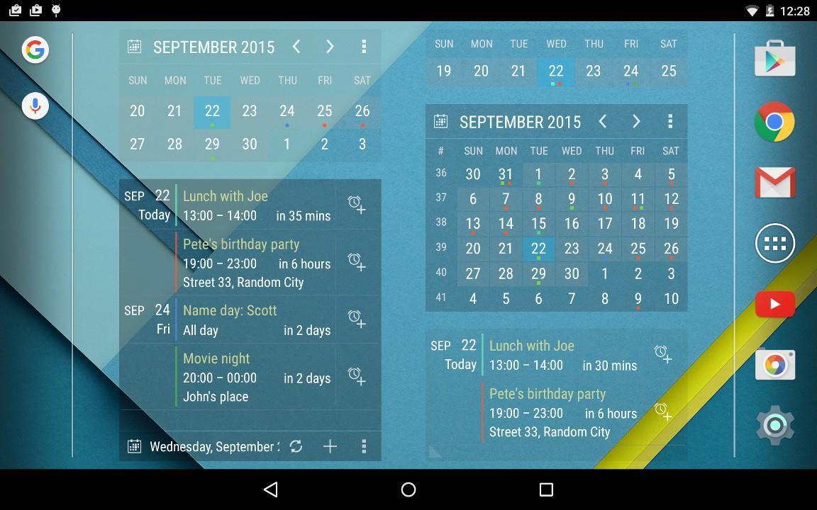 calendar widget month