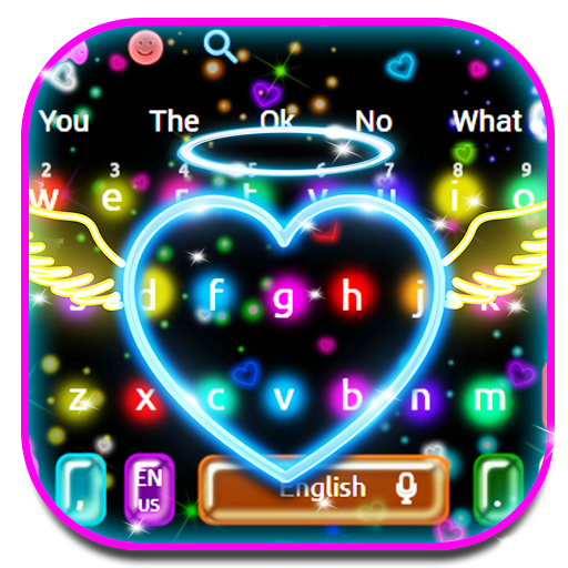 Colorfull Neon Heart Keyboard