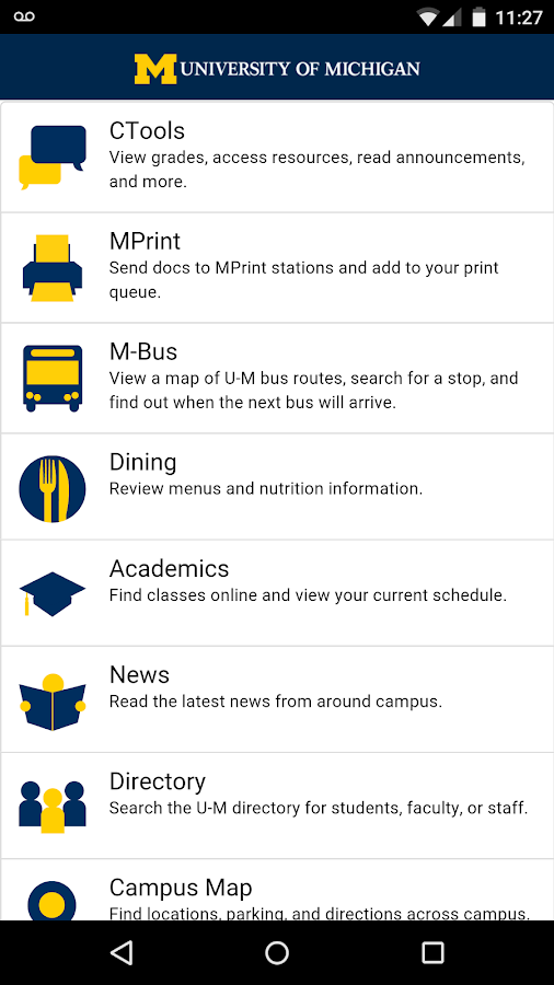 University of Michigan- screenshot