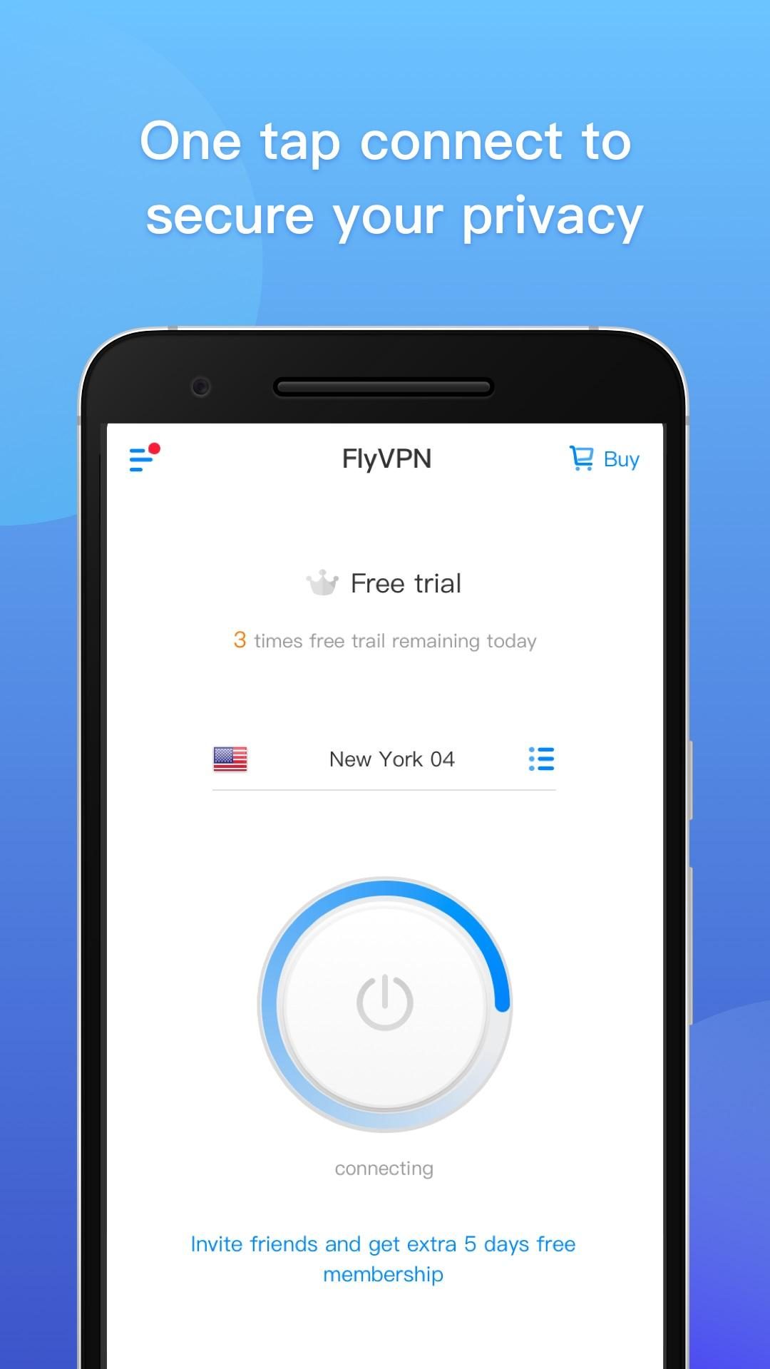 FlyVPN - Free VPN, Internet Privacy Security Proxy