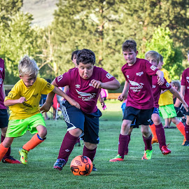 Centre Field Play by Garry Dosa - Sports & Fitness Soccer/Association football ( soccer, game, sports, teams, yellow, boys, running, red, outdoors, children, action, competitive, maroon,  )