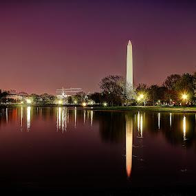 Washington Monument by Elk Baiter - Buildings & Architecture Statues & Monuments ( washington, reflection, night, monument, crane,  )