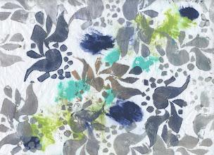 Photo: Mar 18, 2012 7:56 PM 3/17/2012 Navy Partridge. Foam print acrylic on tissue.