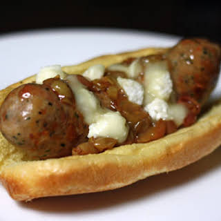 Grilled Italian Sausages with Roasted Grapes and Sheep's Milk Cheese.