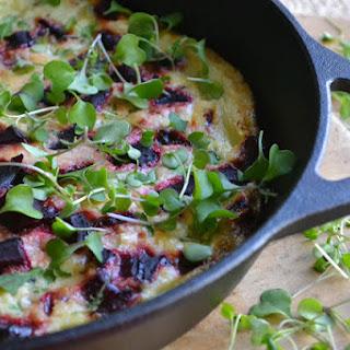 Roasted Beet and Micro Kale Frittata