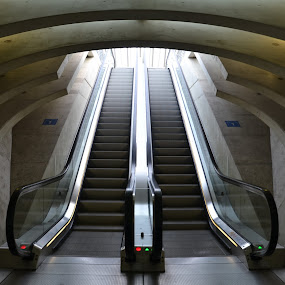 Downstairs by Els He - Buildings & Architecture Other Interior ( symmetry, trainstation, stairs, architectural, belgium, architecture,  )