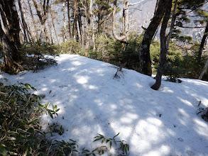 山頂には残雪