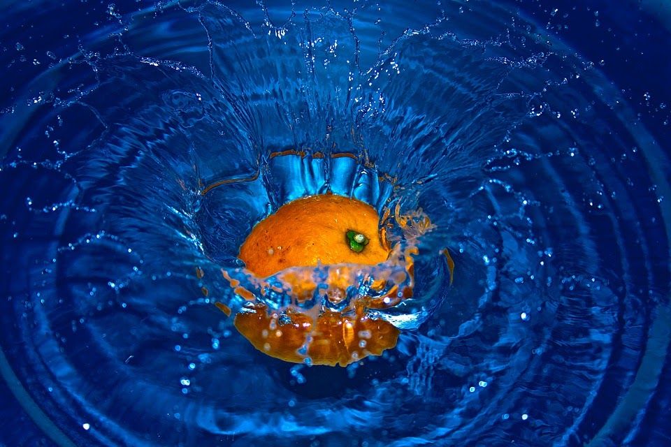 オレンジ, 落下, 水, 果物, しぶき, 水しぶき, 青, 新鮮な, 液体, 透明, クリア, 講演要旨