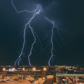 Lightning Near Sky Harbor by Bryan Snider - Landscapes Weather ( thunderstorms, airplanes, thunderstorm, monsoon, storm, bolts, city, lights, airport, lightning, arizona lightning, arizona monsoon, sky harbor, arizona, weather, storms, phoenix,  )