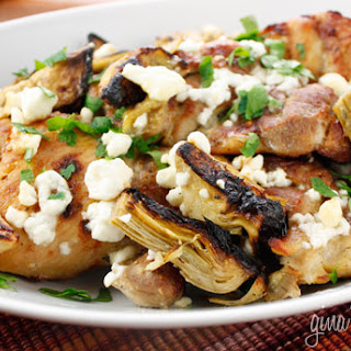 Chicken Thighs with Artichoke Hearts and Feta Cheese.