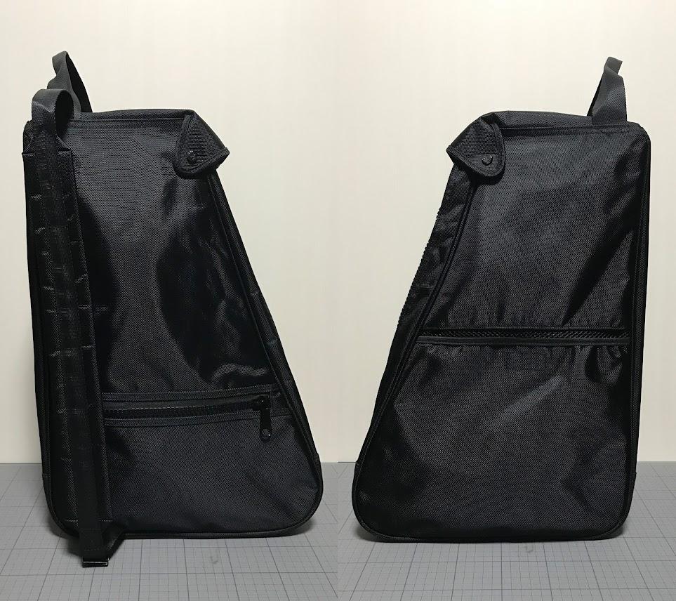 左:ファスナー付きポケットと肩掛けベルト 右:メッシュポケット