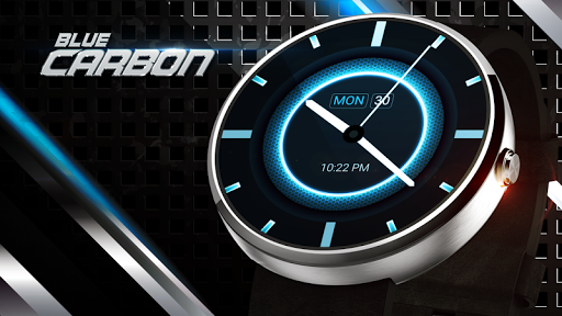 Blue Carbon Analog Watch Face