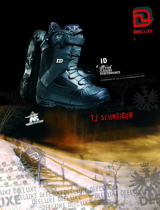 Photo: TJ SCHNEIDER - Kimberley BC, Deeluxe Boots ad