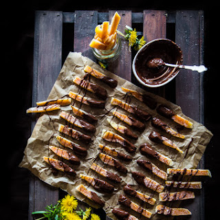 Orangettes (Chocolate-dipped candied orange strips) - aboout 60 3-inch pieces.