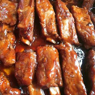Easy Oven Baked Barbecue Teriyaki Ribs.