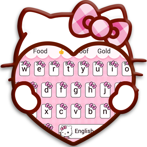 Pink Cute Kitty Cartoon Keyboard Theme