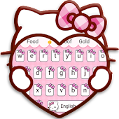 Pink Cute Kitty Cartoon Keyboard Theme