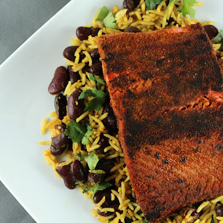 Blackened Salmon with Dark Red Kidney Bean Pilaf