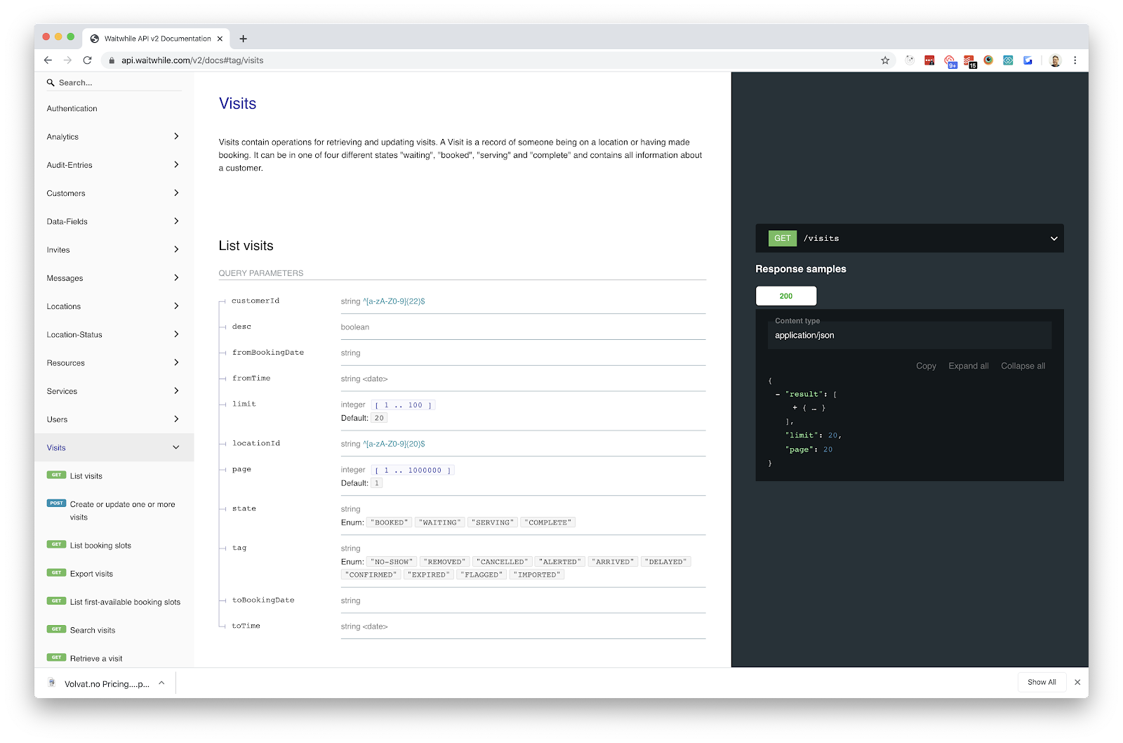 Waitwhile waitlist app screenshot of API documentation