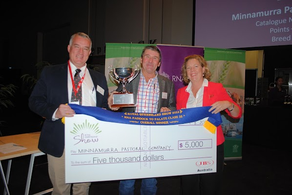 CAPTION: Paddock to Palate 70-day winner Dennis Power (centre), Minnamurra Pastoral Co, Glenrowan, Boggabri, with Duane Woodham, JBS, and RNA councillor Liz Allen. - Picture: Queensland Country Life.