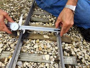 Photo: George Leventon doing track gauge measurements.    HALS Work Day 2015-0411 RPW