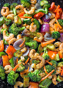 Roasted shrimp and veggies