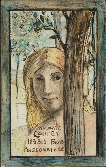 <p> <strong>L&eacute;on Coupey</strong><br /> <strong>To Madame Coupey (Paris)</strong><br /> Ink &amp; crayon on card<br /> 5 &frac12;&quot; x 3 &frac12;&quot;<br /> 1905</p> <p> Collection Holly Coupey, Toronto<br /> Set 5.5&nbsp;</p>