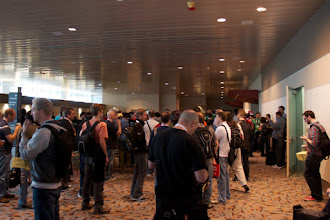 Photo: The line outside of Ballroom 1 and 2 for the opening keynote
