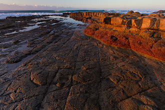 """Photo: """"Red Rocks at Dawn"""" Haga-Haga Nature Reserve Wild Coast, Eastern Cape, South Africa  How can I avoid adding to the new theme of #PanoPoker ? The theme is """"Beaches"""" and here is my first submission to PanoPoker for a while (apologies to the curators +Mike Spinak, +Barry Blanchard and +Tony Payne for the lack of submissions lately!).  This was taken one lovely morning on the South African """"Wild Coast"""" - a long coastline of mostly unspoilt wilderness and rugged terrain.  www.morkelerasmus.com   Also for: 1. #thirstythursdaypics by +Giuseppe Basile and +Mark Esguerra 2. #landscapephotography (+Landscape Photography) by +Margaret Tompkins, +Ke Zeng et al 3. #heavenandearth (+Heaven And Earth) by +Maria Morisot 4. #plusphotoextract  5. #hqsppromotion (+HQSPPromotion) 6. #natureartthursday (+NatureArtThursday) by +Trisha Standard and +Dane Clingan 7. #allthingsred (+AllThingsRed) by +Lucille Galleli and +Stephen Thackeray  #seascapephotography #seascape #beach #rocks"""