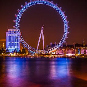 London Eye by Charles Ong - City,  Street & Park  Night ( lights, london eye, london, night )