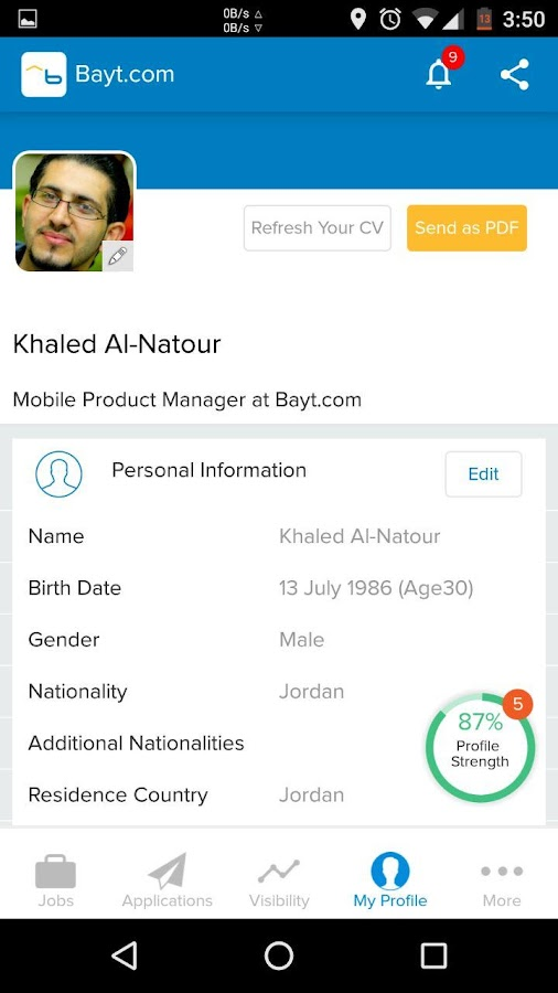 Bayt.com Job Search- screenshot