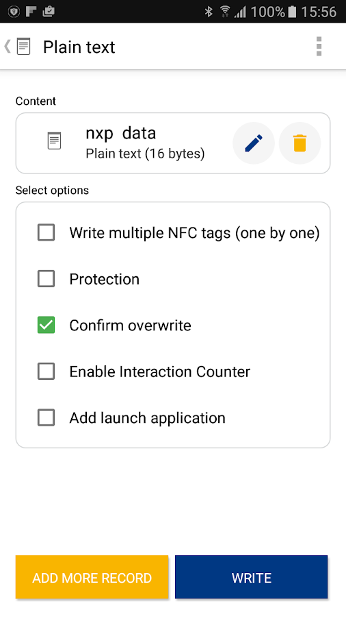 NFC TagWriter by NXP – Capture d'écran