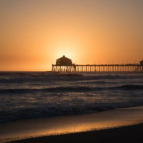 Burning Peer by Kelly Hulme - Landscapes Sunsets & Sunrises ( california, sunset, ocean, beach, ocean view )