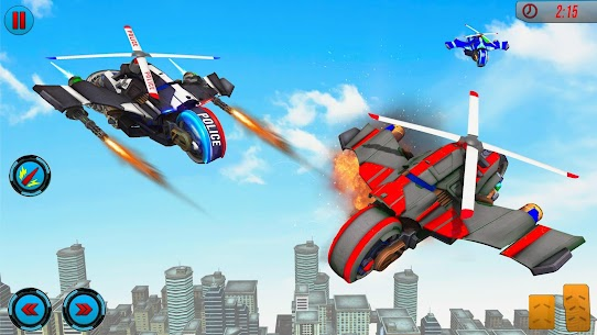 Flying Police Helicopter Bike Transform Robot Game 1
