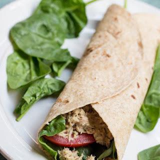 Easy Tuna Salad Hummus Wrap.