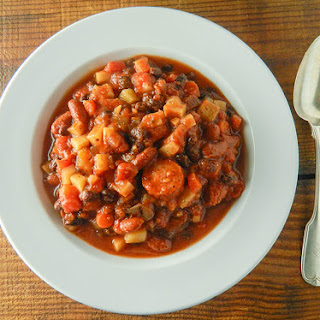 Spicy Slow Cooker Black Bean and Sausage Stew.