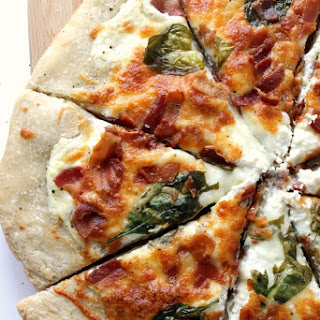 White Pizza with Spinach and Bacon.