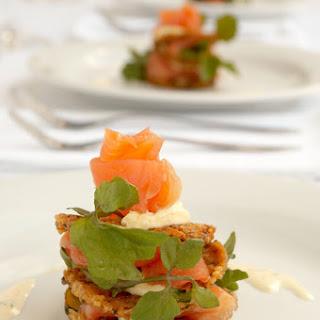 Smoked Salmon on Potato Rosti with Dill Creme Fraiche and Watercress.