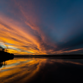 From Dusk Til' Dawn by Christian Skilbeck - Landscapes Cloud Formations ( clouds, water, reflection, nature, sunset, weather, lake, evening )