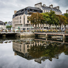 Reflections by Sarah Tregear - Buildings & Architecture Other Exteriors ( water, reflection, building, buildings, reflections, france, architecture, river,  )