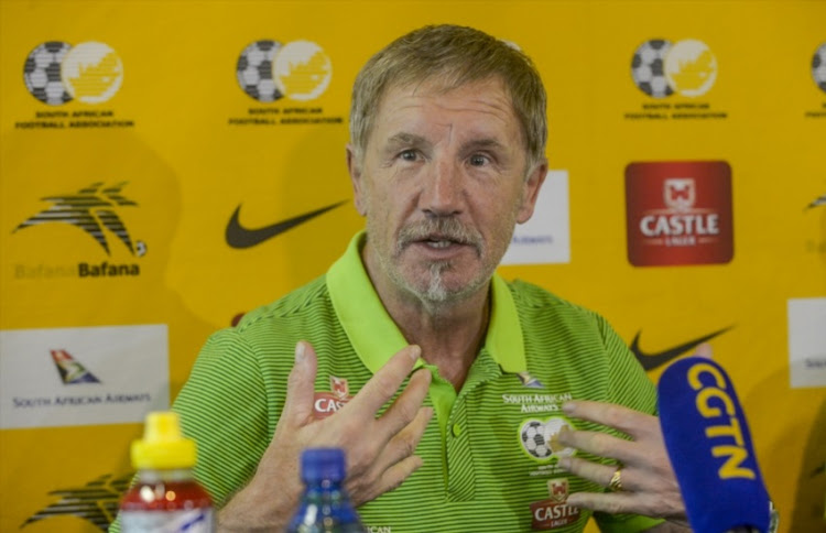 Coach Stuart Baxter of Bafana Bafana during the South African national mens soccer team media briefing at Southern Sun Hotel on March 19, 2018 in Johannesburg, South Africa.