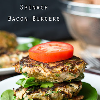 Sweet Potato Spinach Bacon Burgers