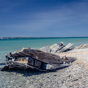 Shipwreaked by Donna Sparks - Landscapes Waterscapes ( sleeping bear dunes, lake michigan, shipwreck )