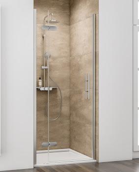Porte de douche pivotante sur paroi fixe en niche, 80, 90, 100 ou 120 cm