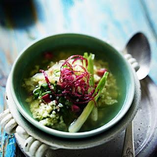 Bulgur Wheat, Rhubarb and Green Onion Soup