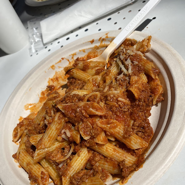 Gluten free pasta with meat sauce