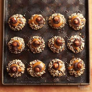 Chocolate, Hazelnut, and Caramel Thumbprint Cookies