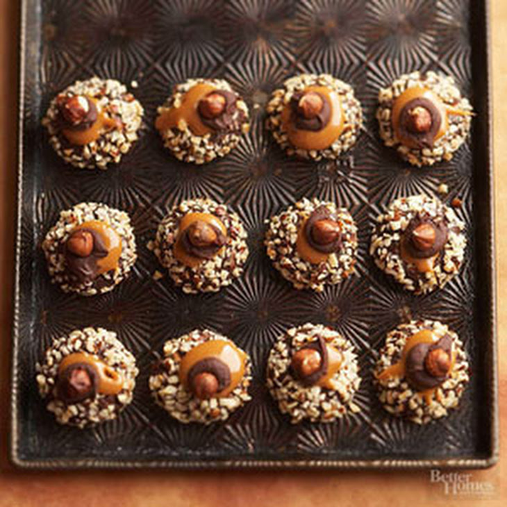 Chocolate, Hazelnut, and Caramel Thumbprint Cookies Recipe | Yummly